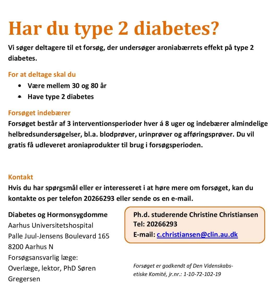 Har du type 2 diabetes. Skejby sygehus mangler forsøgspersoner